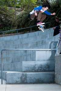Dee Ostrander drops a serious kickflip on a visit to Southern California.