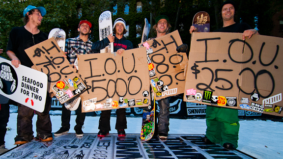 Podium winners display their custom-painted I.O.U's at the 2011 Downtown Throwdown in Seattle, Wash.