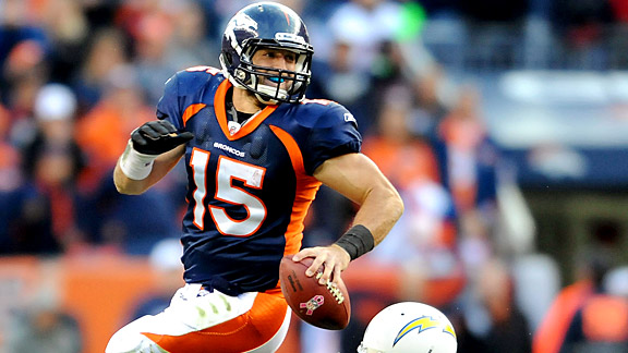 Despite his inaccurate passing, Tim Tebow might be worth picking up for a spot start.