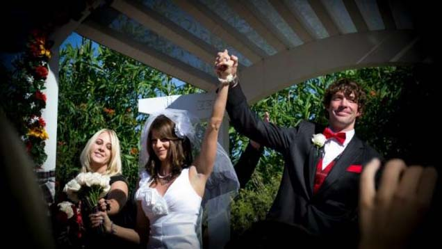 Travis Pastrana marries Lyn-Z Adams Hawkins in a private cermony in San Diego.