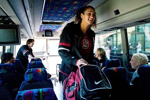 Freshman Erica Payne has a laugh after falling for a joke by assistant coaches Amy Tucker and Kate Paye on the bus headed to San Jose International Airport.