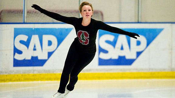 Rachael Flatt wears her school colors proudly as she works on her short program during a recent private ice session in San Jose.