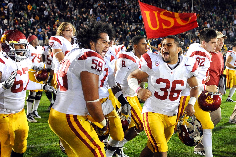 USC players celebrate