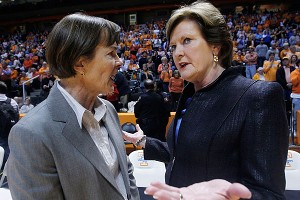 Tennessee coach Pat Summitt, right, talks with Stanford coach Tara VanDerveer before last year's game.