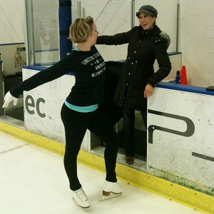 Rachael Flatt ran into former skating champion Kristi Yamaguchi during a session at the Bay Area rink where Flatt practices.