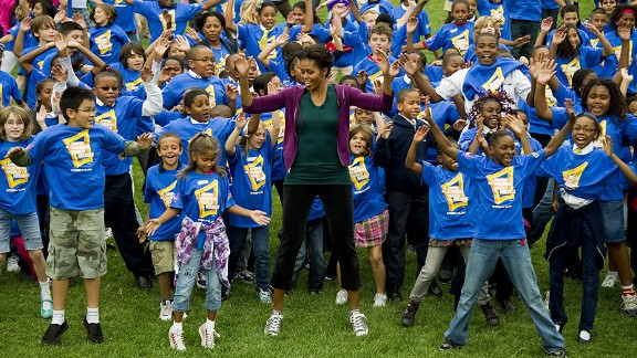 Michelle Obama spearheads the Let's Move! program, which pushes kids to be active for an hour every day.