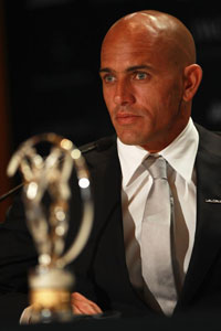 Kelly Slater now has as many Laureus awards as Roger Federer.