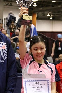 After having lost two years in a row in the finals at the U.S. nationals, Ariel Hsing won her first title in 2010, becoming the youngest U.S. national champion ever.