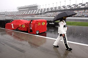 The track at the Daytona International Speedway takes roughly two and a half hours to dry.