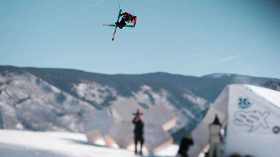 Nick Goepper in the Men's Slopestyle Finals at Winter X Games Aspen 2012.