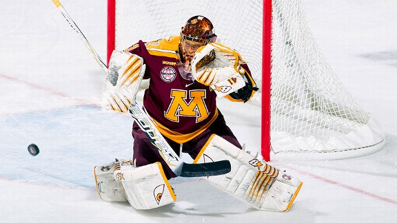 Goalie Noora Raty has 10 shutouts this season for Minnesota, which hasn't won a national title since 2005.