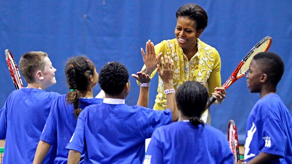 Michelle Obama combined the mini-Olympics with her Let's Move! initiative Tuesday.