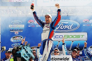 Elliott Sadler won the NASCAR Nationwide Series Ford EcoBoost 300 at Bristol for his second victory of the season.