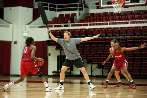 Former Stanford player Jayne Appel does her best Brittney Griner impersonation during practice.