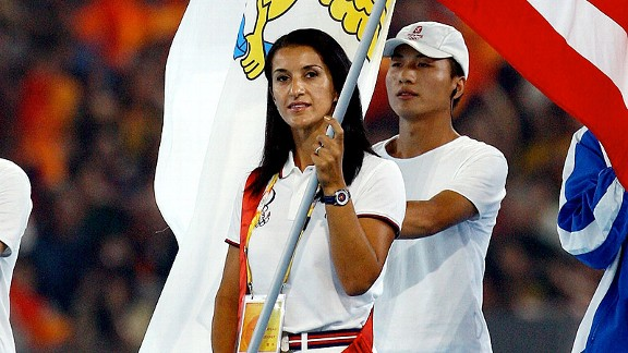 Khatuna Lorig was selected as the U.S. flag-bearer for the closing ceremonies of the 2008 Beijing Games, her fourth Olympics -- but first as an American.