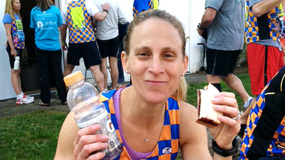 Kristine Lilly enjoyed a prerace meal of a peanut butter and jelly sandwich and Gatorade.