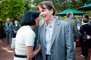 Coach Tara VanDerveer, right, talks with Margaret Ishiyama Raffin of the Ishiyama family, who endowed VanDerveer's coaching position.
