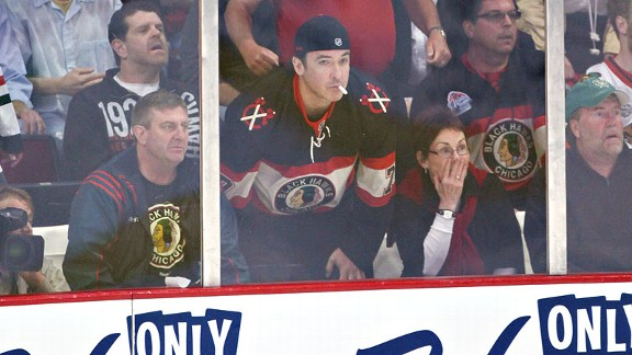 John Cusack has been spotted rinkside for Chicago Blackhawks games.