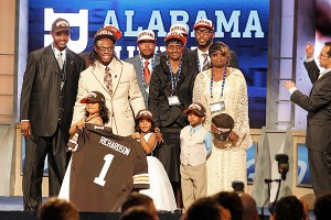 Alabama running back Trent Richardson had his little hearts -- daughters Taliyah, 5, and Elevera, 3 -- with him to celebrate being taken third overall by the Browns.