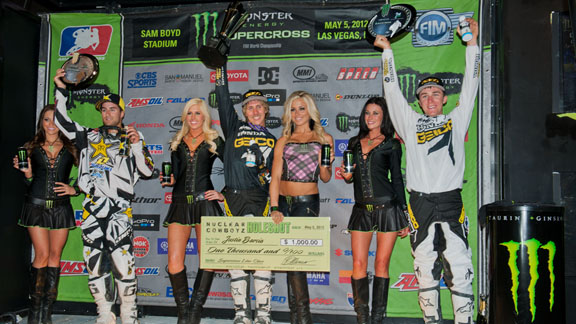 Lites podium at the AMA Supercross finale in Las Vegas.