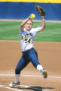 Cal's Jolene Henderson, shown here during a game earlier this season, pitched well in relief in Saturday's upset loss against Arkansas.