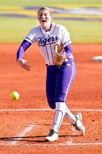 LSU pitcher Rachel Fico has thrown back-to-back shutouts in the tournament, including a 2-0 win against No. 8 Texas A&M on Saturday.