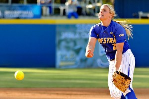 Hofstra's Olivia Galati, shown here during Friday's game against UCLA, has 31 consecutive wins, two shy of the NCAA single-season record.