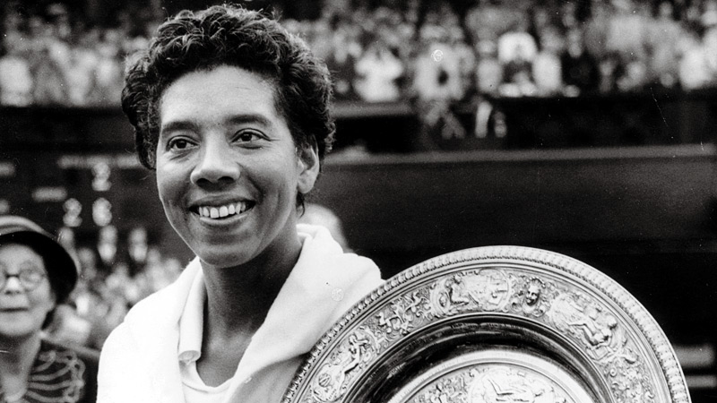 Althea Gibson won a total of 11 Grand Slam titles during her tennis career, including five at Wimbledon -- two singles and three doubles.