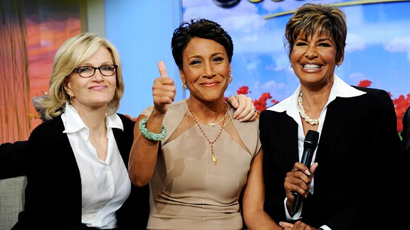 Robin Roberts, center, clued the public into her latest health struggle during the June 11 Good Morning America with Diane Sawyer and sister Sally-Ann Roberts by her side.
