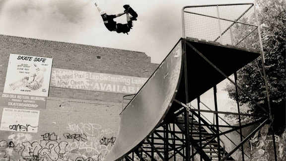 Jason Ellis blasts a method air at the Prahran ramp in Melbourne, Australia