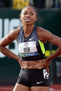 Allyson Felix looks on after competing in the women's 100-meter final at the U.S. track and field trials Saturday. Officials were reviewing the finish, in which Felix and Janeba Tarmoh ended up in a dead heat for third place.
