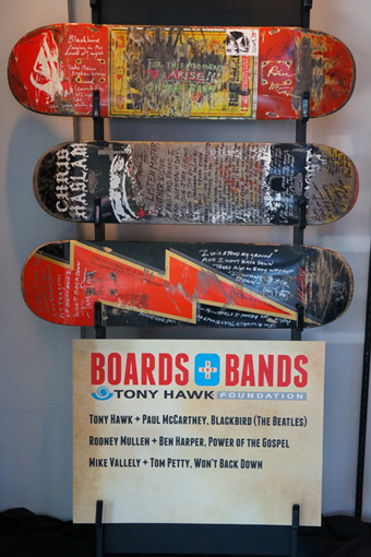 Paul McCartney of the Beatles signed Tony Hawk's board (top) with Mullen's and Vallely's below.