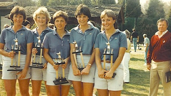 The Furman women's golf team in 1984, from Left: Sara Anne McGetrick, Denise Killeen, Kathy Hart Wood, Cindy Davis and Dottie Pepper.