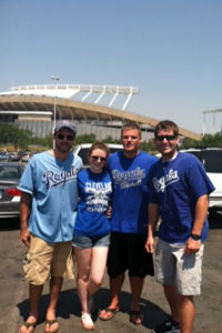 Scott Biel, far left, along with Stacia Thrash, Scott Miller and John Meyer, is part of a generation that has never seen a Royals playoff team.