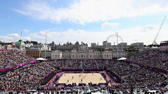 Central London provides a stunning backdrop for the competition in beach volleyball.