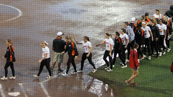 The National Pro Fastpitch playoffs ended without a champion on Sunday because of the weather.