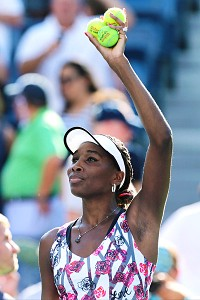 Venus Williams, who played well in Cincinnati prior to the U.S. Open, found power and a first serve in Tuesday's victory.