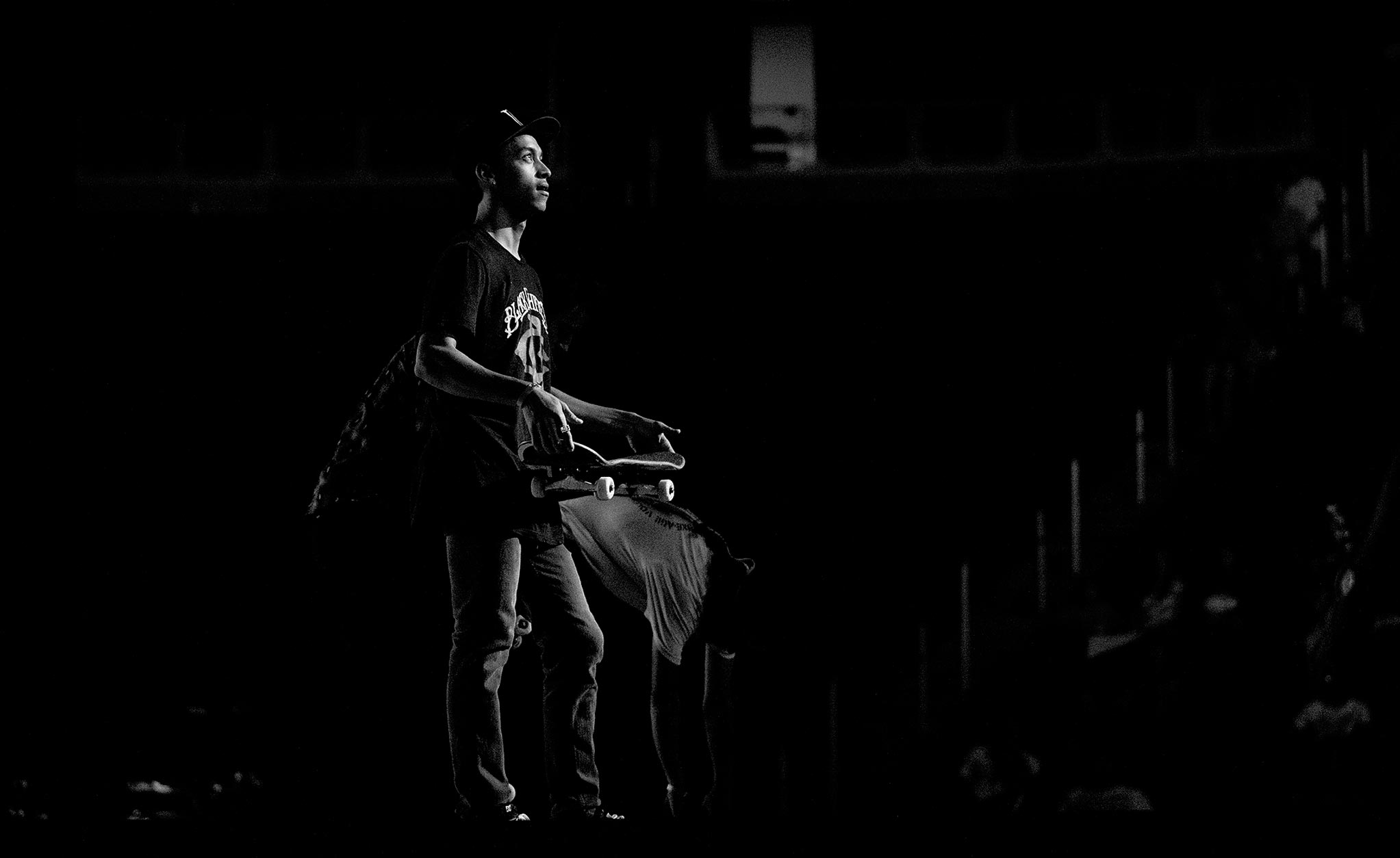 Nyjah Huston in the spotlight during the Arizona stop of Street League.