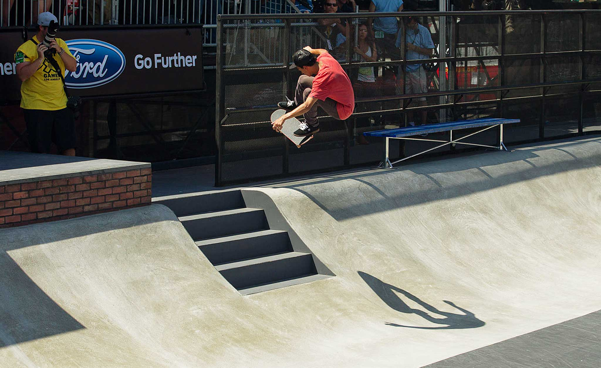 Though Huston took the Bronze at X Games Los Angeles earlier this year, he still topped the podium more times than not for 2012. Blind-sided kickflip to fakie over the stairs at the Los Angeles X Games.