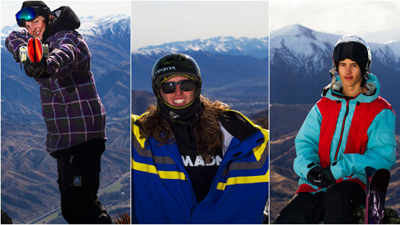 Emma Dahlstrm, Henrik Harlaut and Jesper Tjder, members of Sweden's slopestyle team.