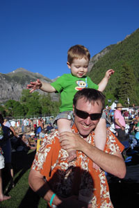Nate Soules with his son in Telluride, Colo.