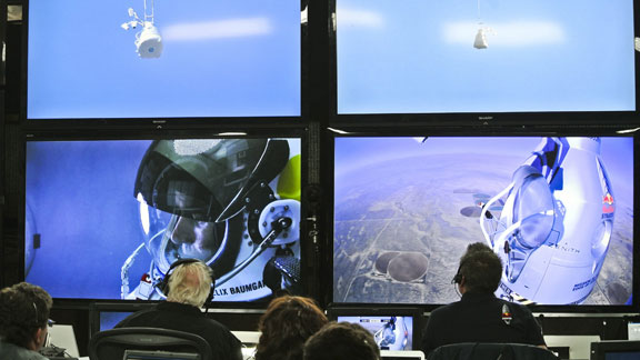The view from mission control at Red Bull Stratos.