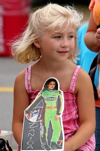 Danica Patrick's popularity is evident at racetracks where men, women and children show their support.
