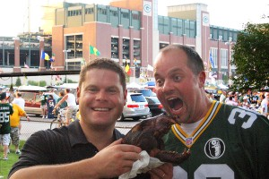 August Herschede, left, and Chris Haworth are longtime Packers fans who have taken advantage of the Midwestern hospitality to throw their pregame parties on others' property.