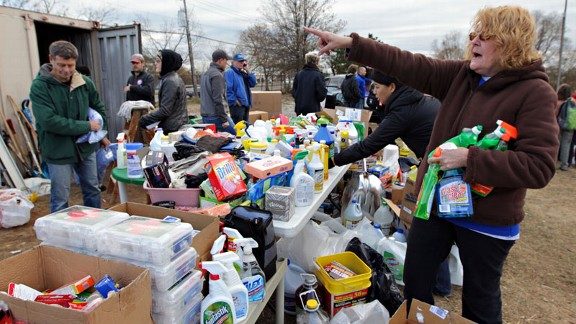 Volunteers work to unload and organize emergency supplies near Midland Beach in Staten Island.