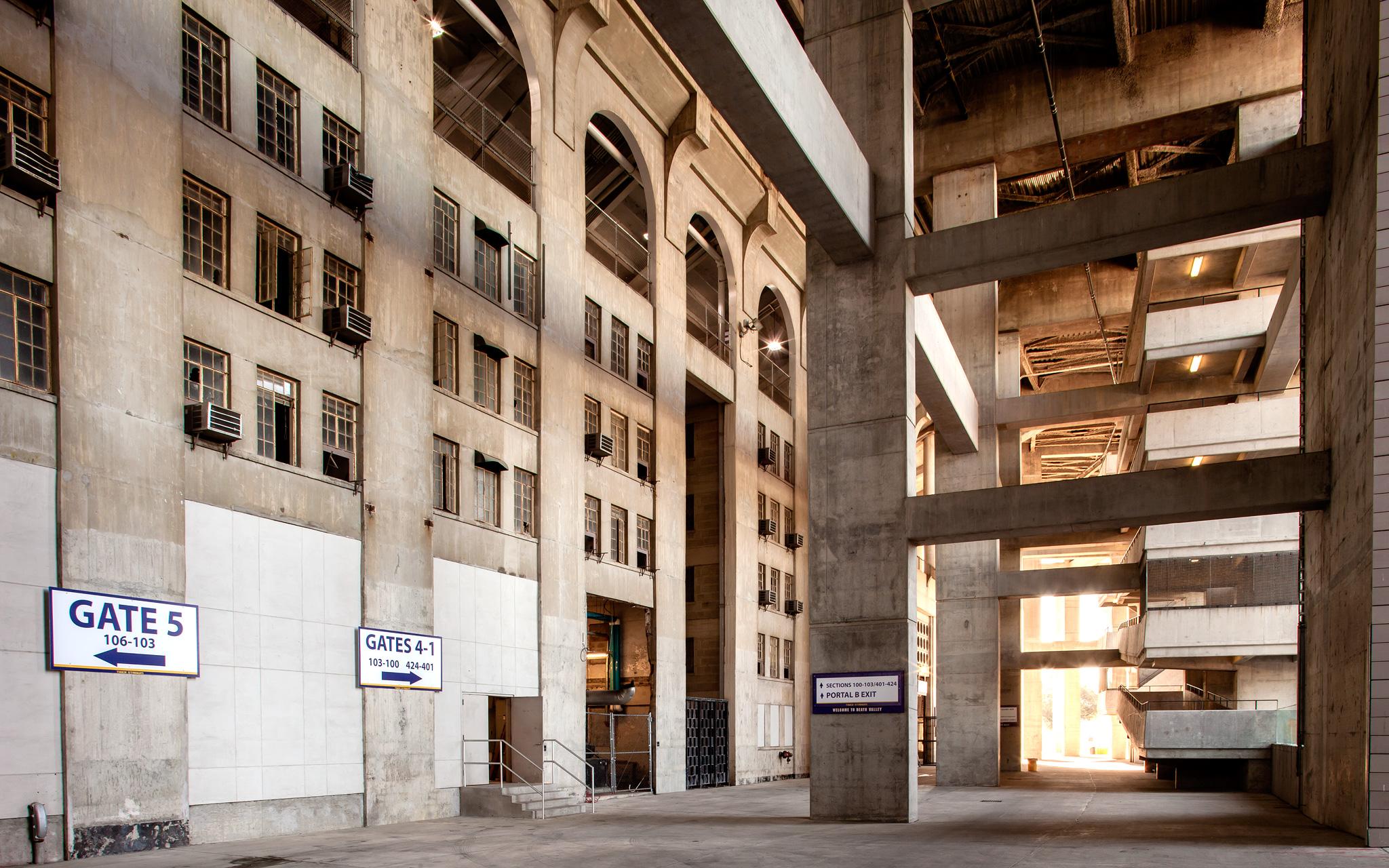Old dorms in a exterior concourse Tiger Stadium