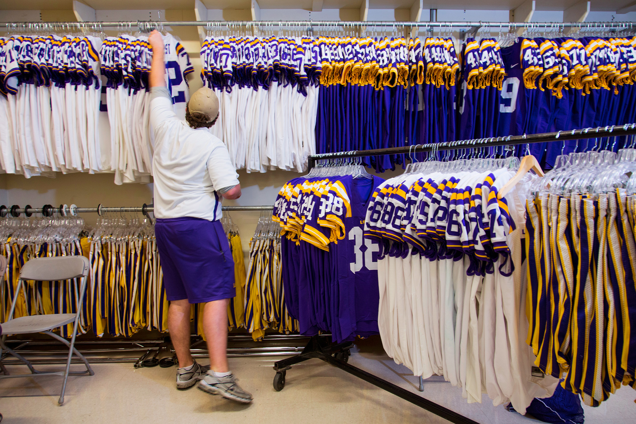 Racks of LSU jerseys