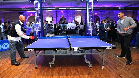 Once powerhouses on the hardcourt, Ron Harper and Allan Houston brought that competitive fire to the pingpong table as they faced off in New York to raise money for education.