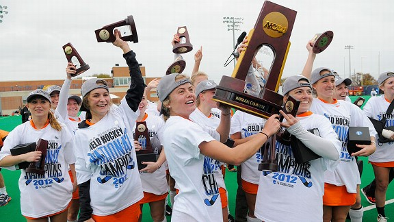 Princeton field hockey players celebrate their national championship after Sunday's victory against North Carolina.