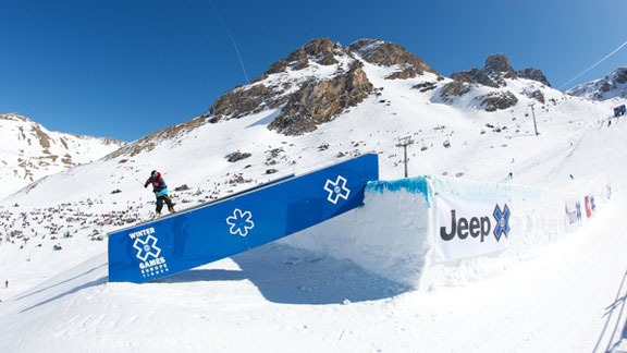 Tom Wallisch competing at X Games Tignes 2012.